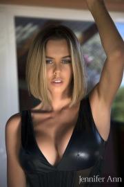 Jennifer Ann Big Boobs Peel Out from PVC Bodysuit 003