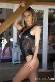 Jennifer Ann Big Boobs Peel Out from PVC Bodysuit 004
