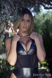 Jennifer Ann Big Boobs Peel Out from PVC Bodysuit 009