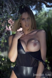 Jennifer Ann Big Boobs Peel Out from PVC Bodysuit 010