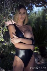 Jennifer Ann Big Boobs Peel Out from PVC Bodysuit 011