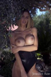 Jennifer Ann Big Boobs Peel Out from PVC Bodysuit 012