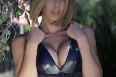Jennifer Ann Big Boobs Peel Out from PVC Bodysuit 009