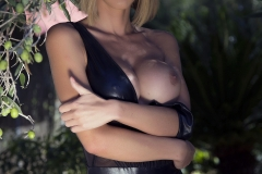 Jennifer Ann Big Boobs Peel Out from PVC Bodysuit 011