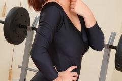 Jessica Kingham Big Tit Black Leotard Workout 01