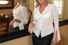 Jodi West Big Boobs Tight White Shirt and Tight Skirt 003