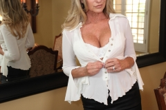 Jodi West Big Boobs Tight White Shirt and Tight Skirt 008