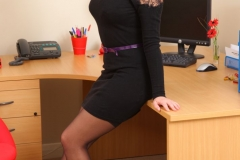 Jodie Gasson Big Boobs in Tight Black Dress as a Secretary 003