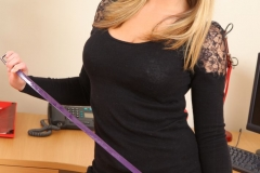 Jodie Gasson Big Boobs in Tight Black Dress as a Secretary 012