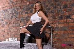 Jodie Gasson Big Boobs White Top Black Skirt 03