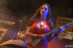 Jordan Carver Huge Tits Red Leather Gun Toting Babe for Actiongirls 003