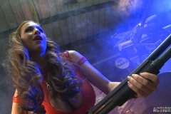 Jordan Carver Huge Tits Red Leather Gun Toting Babe for Actiongirls 035