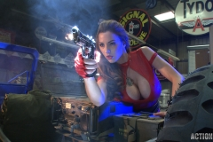 Jordan Carver Huge Tits Red Leather Gun Toting Babe for Actiongirls 115