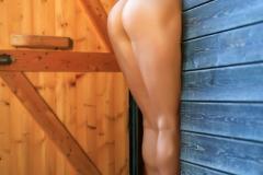 Justina Big Tits in Brown Bikini 009