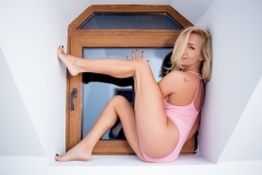 Katelyn White Sexy Big Boobs White then Pink Outfit 011