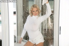 Katie Thornton Huge Breasts in White Shirt Get Wet 004