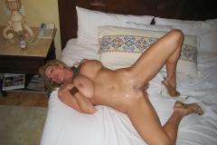 Kelly Madison Massive Tits in Green Tshirt and Denim Shorts 012