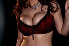 Lana Kendrick Huge Boobs Red and Black Bra 01