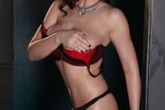 Lana Kendrick Huge Boobs Red and Black Bra 09
