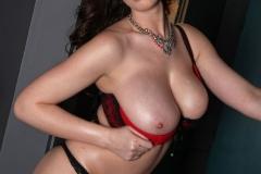 Lana Kendrick Huge Boobs Red and Black Bra 15