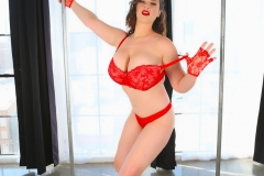 Lana Kendrick Huge Tits in Bright Red Lacy Bra 006