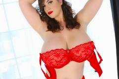 Lana Kendrick Huge Tits in Bright Red Lacy Bra 010