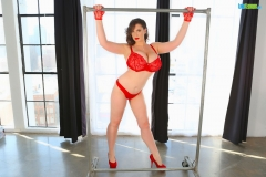 Lana Kendrick Huge Tits in Bright Red Lacy Bra 017