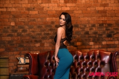 Lauren Louise Perky Breasts Black Lingerie and Tight Turquoise Skirt 001