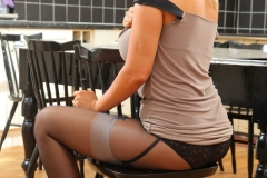 Leah Frances Big Boobs Tight Dress High Heels and Stocking 05