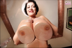 Leanne Crow Huge Boobs Squashed on Glass 00