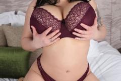 Leanne Crow Huge Tits in Lacy Burgundt Bra 002