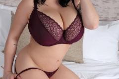Leanne Crow Huge Tits in Lacy Burgundt Bra 004