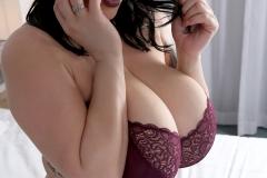 Leanne Crow Huge Tits in Lacy Burgundt Bra 012