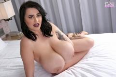 Leanne Crow Huge Tits in Lacy Burgundt Bra 017