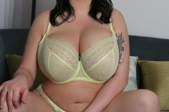 Leanne Crow Huge Tits Yellow Sheer Bra and Panties 001
