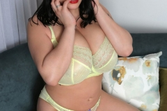Leanne Crow Huge Tits Yellow Sheer Bra and Panties 005