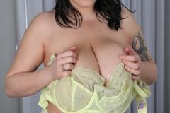 Leanne Crow Huge Tits Yellow Sheer Bra and Panties 020