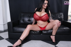 Leanne Crow Naked Huge Tits Red Seethrough Bra and High Heels 001