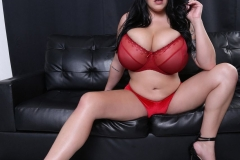 Leanne Crow Naked Huge Tits Red Seethrough Bra and High Heels 002