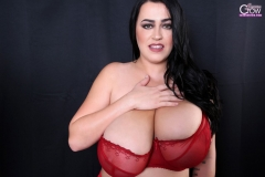 Leanne Crow Naked Huge Tits Red Seethrough Bra and High Heels 015