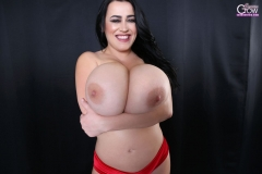Leanne Crow Naked Huge Tits Red Seethrough Bra and High Heels 028