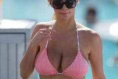 Lindsey Pelas Big Tits in Pink Bikini Top 001