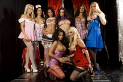 Linsey Dawn McKenzie and huge gang of booby girls with Cindy Behr 015