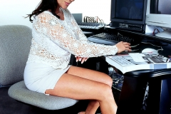 Linsey Dawn McKenzie Huge Boob Secretary in White Minidress 001