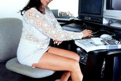 Linsey Dawn McKenzie Huge Boob Secretary in White Minidress 001
