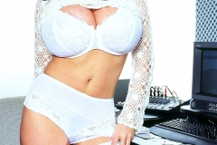 Linsey Dawn McKenzie Huge Boob Secretary in White Minidress 007