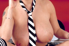 Linsey Dawn McKenzie Huge Boobs with a Tie Hanging Between them 010