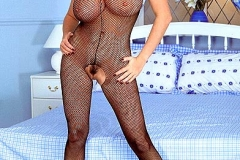 Linsey Dawn McKenzie Huge Breasts in Fishnet Bodystocking 01