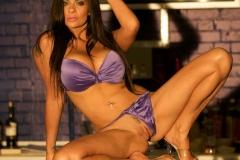 Linsey Dawn McKenzie Huge Tits In Silky Purple Bra and Panties 012