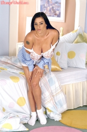 Linsey Dawn McKenzie Huge Tits in White Bra at bedtime 006